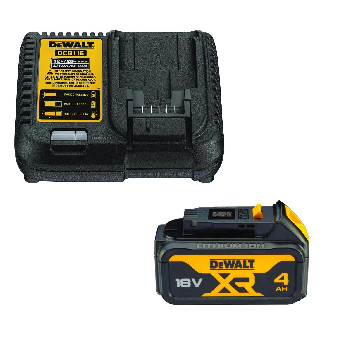 Akumulator 18V Li-Ion 4,0Ah DCB182 + Ładowarka DCB115 DeWalt